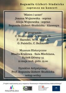 Bogumiła Gizbert-Studnicka zaprasza na koncert